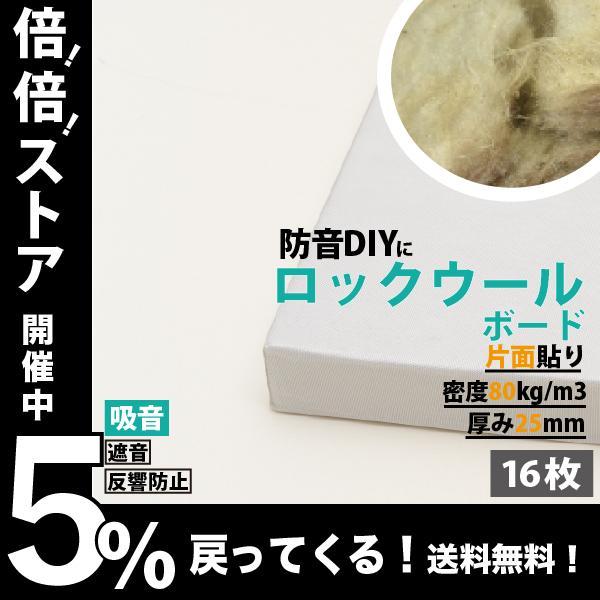 防音パネル 防音ボード 吸音 防音 DIY 騒音対策 ピアリビング ロックウールボード 密度80kg/m3 ガラスクロス片面貼り 白 605×910mm 厚さ25mm 16枚入