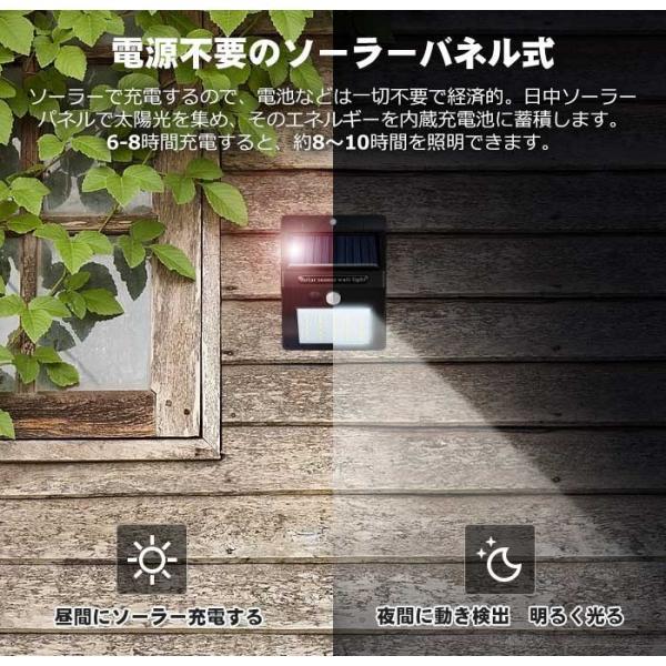 【2個セット】Finether ソーラーライト センサーライト 25LED 屋外 人感センサー 自動点灯 500lm 高輝度 省エネ 防犯 電気配線不要 簡単設置 軒下/玄関/屋外照明|pianisimo|04