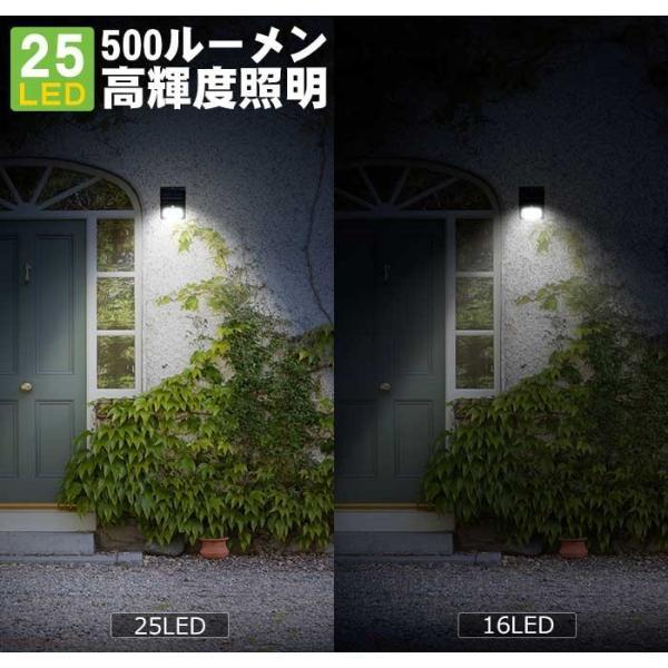 【4個セット】Finether ソーラーライト センサーライト 25LED 明るい 500ml 人感センサー 太陽光発電 防水 配線不要 簡単設置 屋根/軒下/玄関/壁 屋外照|pianisimo|02