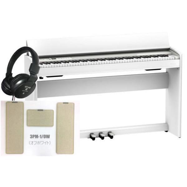 電子ピアノローランドデジタルピアノF-701WH(組立設置配送・防音防振マット専用高低自在椅子ヘッドホン2個セット)