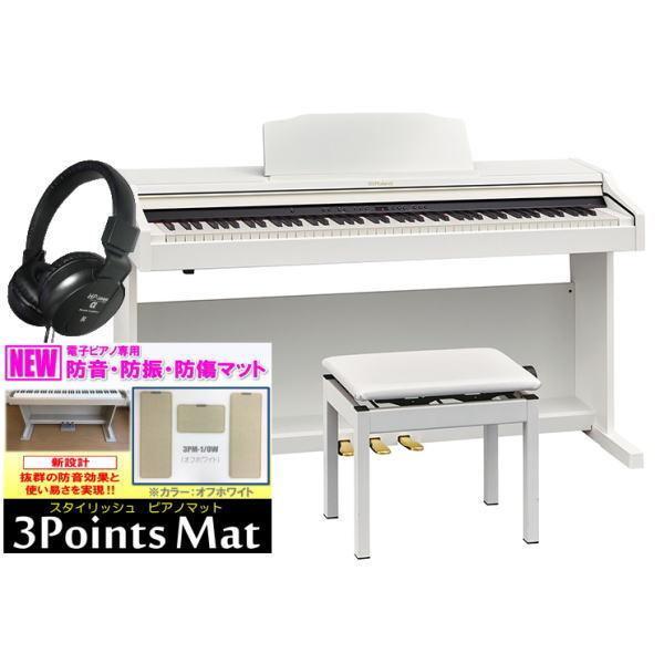 電子ピアノローランドデジタルピアノRP501RWHS(組立設置配送・防音防振マット専用高低自在椅子ヘッドホン2個セット)