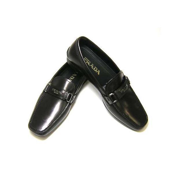 プラダ靴メンズレザーシューズ(ブラック)6サイズ(日本サイズ約25cm)