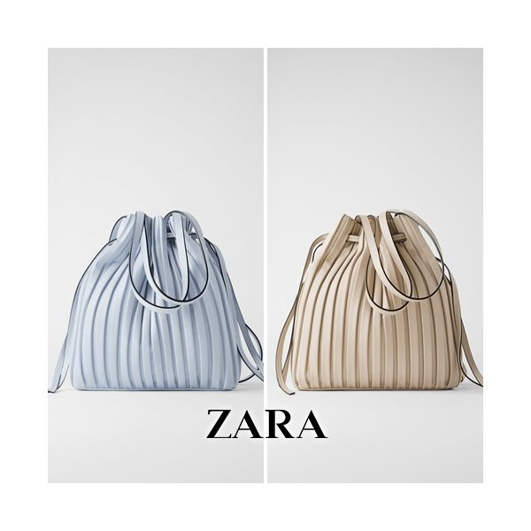 ZARA ザラ プリーツ加工入りバケットバッグ / 取寄品