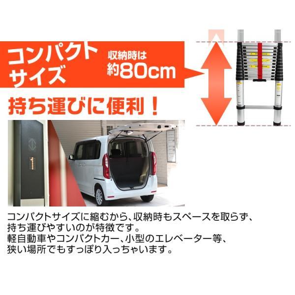 はしご 伸縮 アルミ 伸縮はしご スライド式 スーパーラダー 3.8m 非常用  雪下ろし|pickupplazashop|03