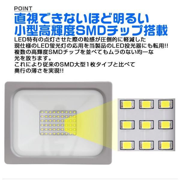 LED投光器 100W 防水 作業灯 防犯灯 ワークライト 広角120度 3mコード付 看板照明 昼光色 (4個セット) pickupplazashop 03