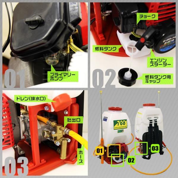 噴霧器 エンジン式 26cc 背負い式 大容量 25L ポータブル噴霧器 農薬 除草剤 散布 除草剤散布機|pickupplazashop|12
