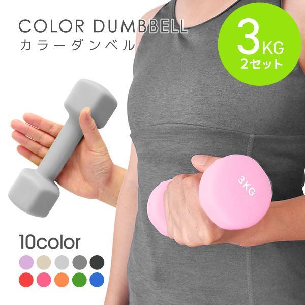 ダンベル 3kg 3キロ 2個セット 女性 エクササイズ 鉄アレイ トレーニング 筋トレ ダイエット