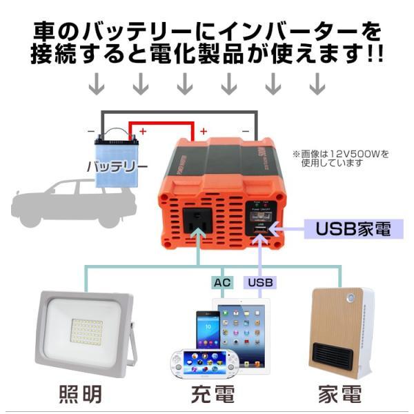 インバーター 12V 自動車用 500W 100V 疑似正弦波 矩形波 USBポート付|pickupplazashop|05