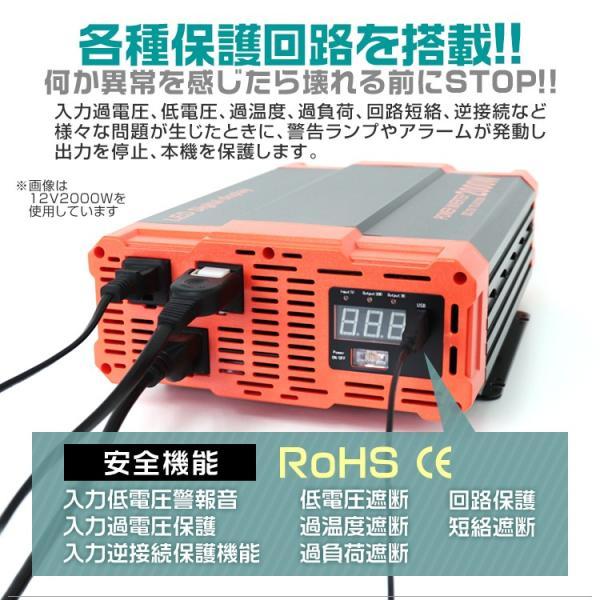 自動車用 インバーター 1000W DC24V AC100V 疑似正弦波 矩形波 USBポート付|pickupplazashop|10