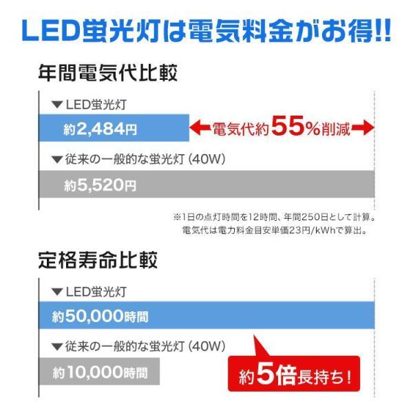 LED蛍光灯直管  40W形 120cm 2本セット SMD グロー式 工事不要 1年保証付き|pickupplazashop|04