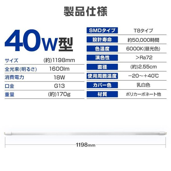 LED蛍光灯直管  40W形 120cm 2本セット SMD グロー式 工事不要 1年保証付き|pickupplazashop|10