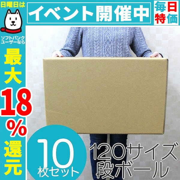 ダンボール 段ボール 120サイズ 10枚 茶色 日本製 引越し 無地 梱包 梱包箱 ダンボール箱
