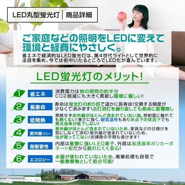LED蛍光灯 丸型 30W形 消費電力9W クリア グロー式 工事不要 5本セット|pickupplazashop|03