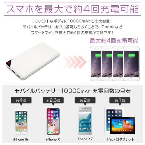 モバイルバッテリー iPhone Android iPad 軽量 大容量 10000mAh 2.1A 2〜3ポート スマホバッテリー 充電器 急速充電|pickupplazashop|02