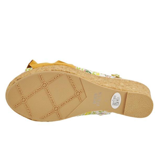レディース 靴 サンダル ウェッジソール 厚底サンダル ボディフォーカス ホワイトプリント BD4032WHT-PR