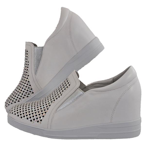 レディース 靴 カジュアルシューズ カリシモアルテ ウェッジソール パンチング ビジュー付き インヒールスニーカー ホワイト Carissimo1699-99CWH