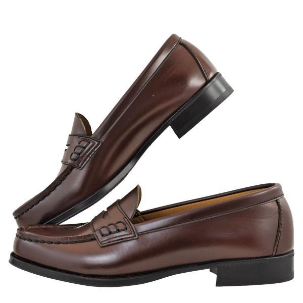 レディース 靴 ローファー ハルタ 日本製 人工皮革 コードレ スリッポン 2E ブラウン HARUTA4514BRN