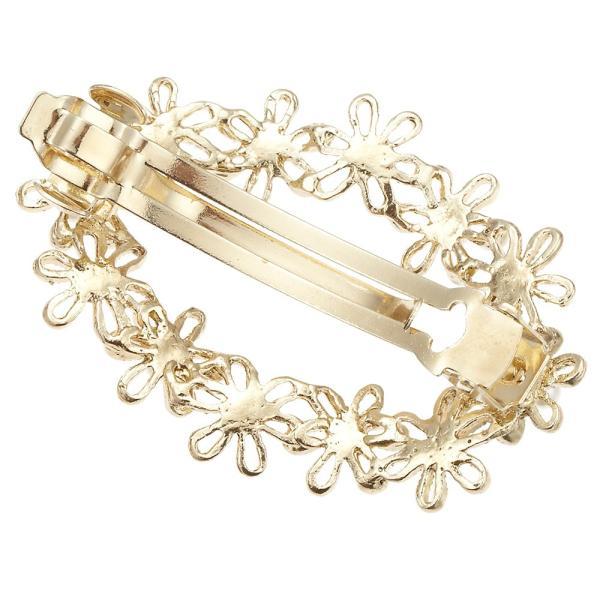 透かしフラワーバレッタ ゴールド 透かし模様 ストーン オープンフラワー 小花 楕円形 パール ヘアアレンジ