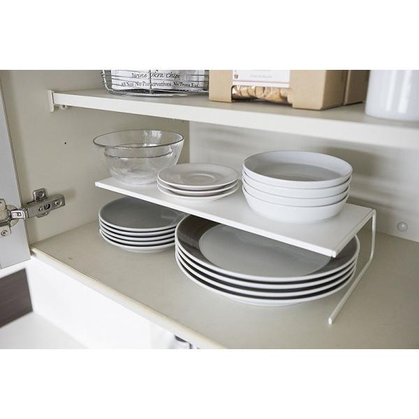 ディッシュストレージ プレートL Large ホワイト ディッシュラック 食器棚 仕切棚 仕切台食器 収納