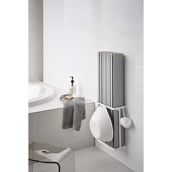 マグネットバスルーム折り畳み風呂蓋ホルダー バスタブ収納 シャッター式タイプも収納可 フック ホワイト ブラック