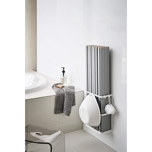マグネットバスルーム折り畳み風呂蓋ホルダー バスタブ収納 水切れが良い シャッター式タイプも収納可 フック ホワイト