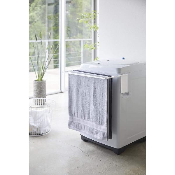 マグネット伸縮洗濯機バスタオルハンガー タオル掛け 置き棚 折りたためる 3枚掛け ホワイト ブラック 脱衣所 賃貸