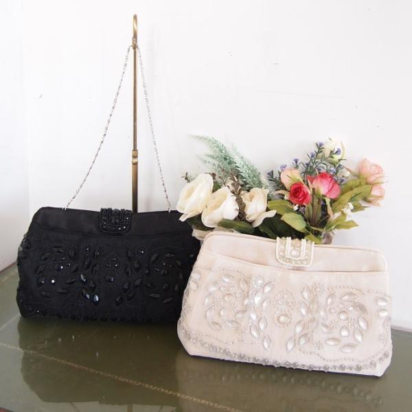 パーティーバッグ 大きめ クラッチ 黒 ビジュー 結婚式 二次会 パーティー 冠婚葬祭 フォーマル