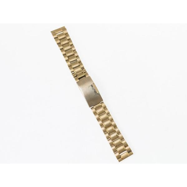 汎用 ステンレス製 腕時計 ベルト ブレスレット バンド Dバックル 交換用 19MM#ゴールド