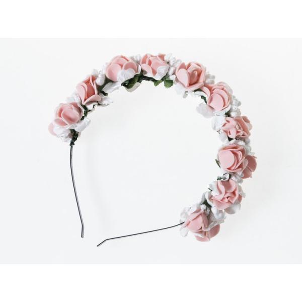 花嫁 花冠 花かんむり フラワー 造花アクセサリー カチューシャ ウェディング イベントなど#ピンク+ホワイト