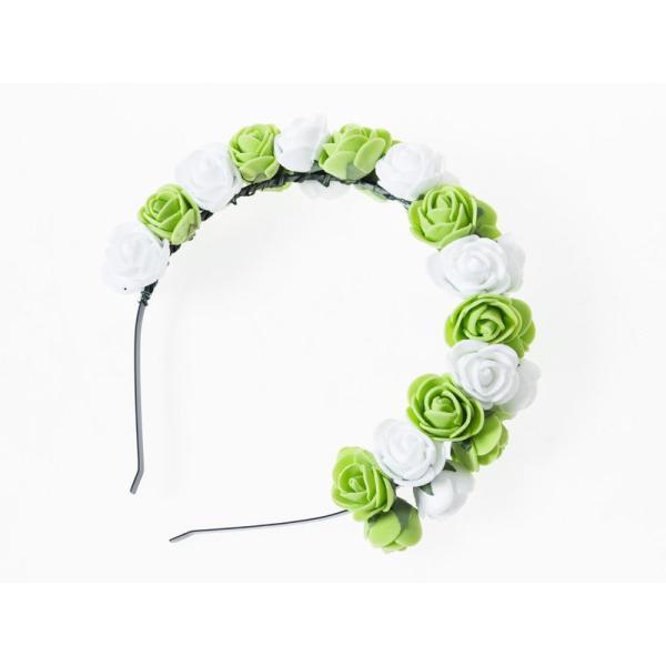 花嫁 花冠 花かんむり フラワー 造花アクセサリー カチューシャ ウェディング イベントなど#ホワイト×グリーン