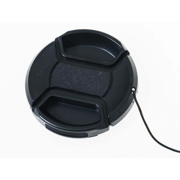 汎用タイプ カメラ デジカメ 一眼レフ 紐付き レンズキャップ ブラック#58MM