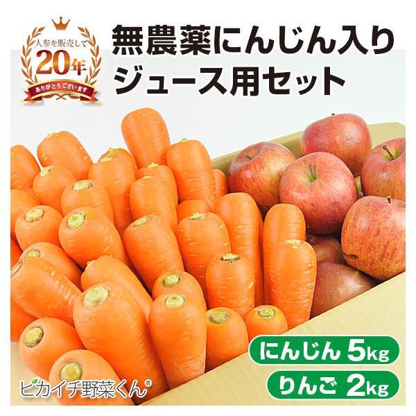 人参 にんじん 国産 にんじんジュース ジュース用 にんじん5kg+りんご2kg 洗い人参(農薬・化学肥料不使用栽培) ゲルソン療法にも最適 訳あり
