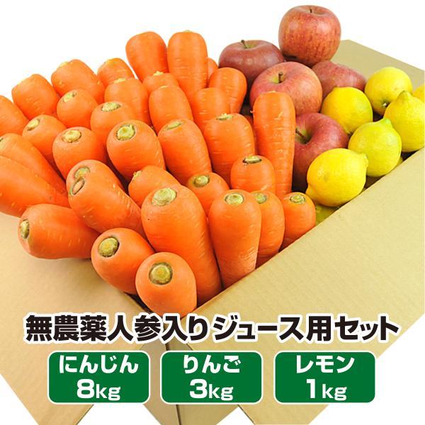 にんじん 人参 送料無料 野菜セット 無農薬にんじん8kg+りんご3kg+レモン1kg 無農薬 グルメ|pika831