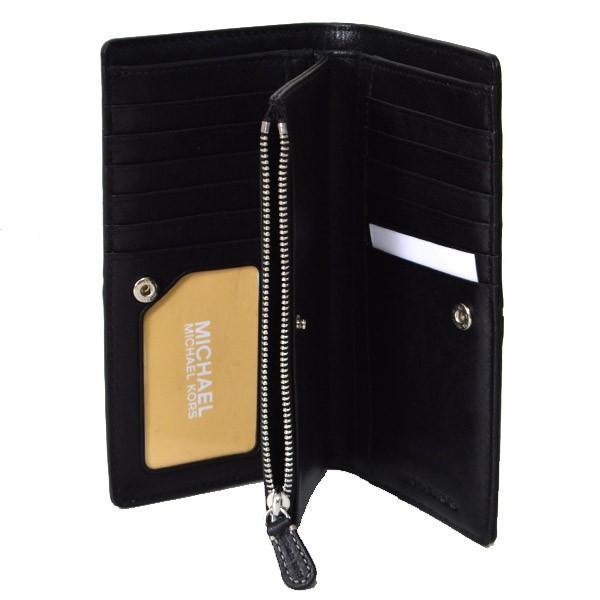 マイケルコース 財布 MK MICHAEL KORS レザー スタッズ スリム 二つ折り 長財布 ブラック 35F8SATE1L