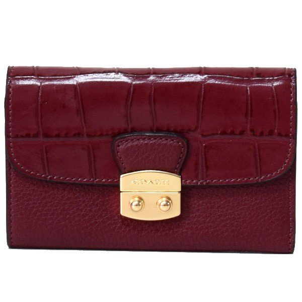 9e551a10f18d コーチ 財布 COACH クロコダイル エンボスレザー ペブルレザー ミディアム エンベロープ ウォレット 三つ折り財布 ワイン 66629の