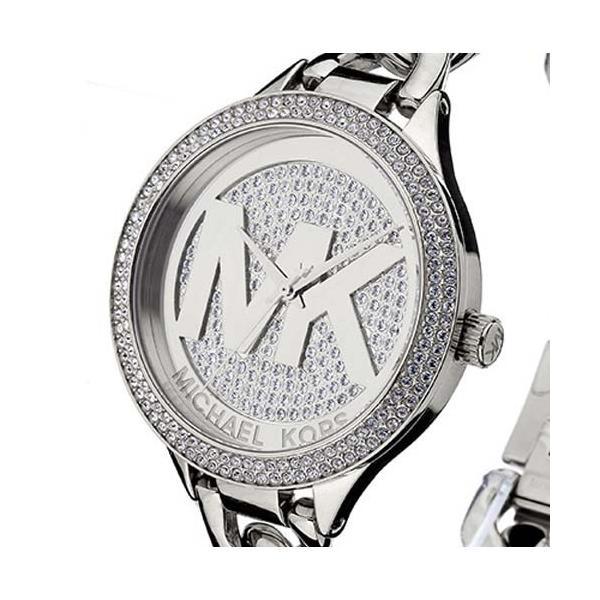 マイケルコース 時計 MICHAEL KORS パーカー チェーン ロゴ レディース ラインストーン ウォッチ 腕時計 シルバー MK3473