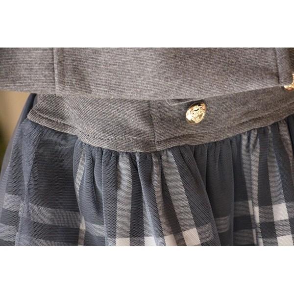 フォーマル スカート チュール 女の子 子供服  キッズ 入学式 入園式 卒業式 結婚式  タータンチェック グレー チャコール 140 130 120 110 100 90 モニカ|pinkcat-rora|04