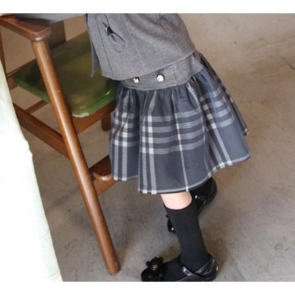 フォーマル スカート チュール 女の子 子供服  キッズ 入学式 入園式 卒業式 結婚式  タータンチェック グレー チャコール 140 130 120 110 100 90 モニカ|pinkcat-rora|07