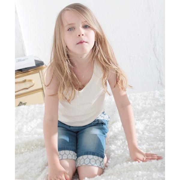 dca986443950c ... デニムパンツ ハーフパンツ スキニー ジーンズ 女の子 子供服 キッズ カジュアル レース 5分丈 6