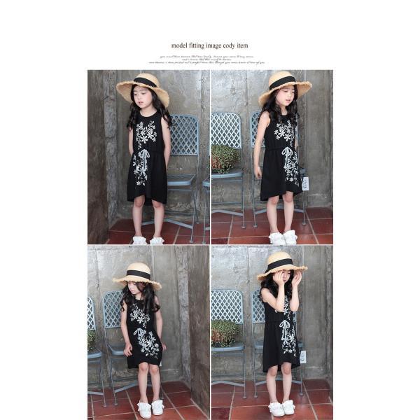 ワンピース ノースリーブ 女の子 子供服 ガールズ ジュニア キッズ 無地 花柄 お出かけ 可愛い 夏 ブラック シルバー 黒 140 130 120 110 100 90 シルケット|pinkcat-rora|05