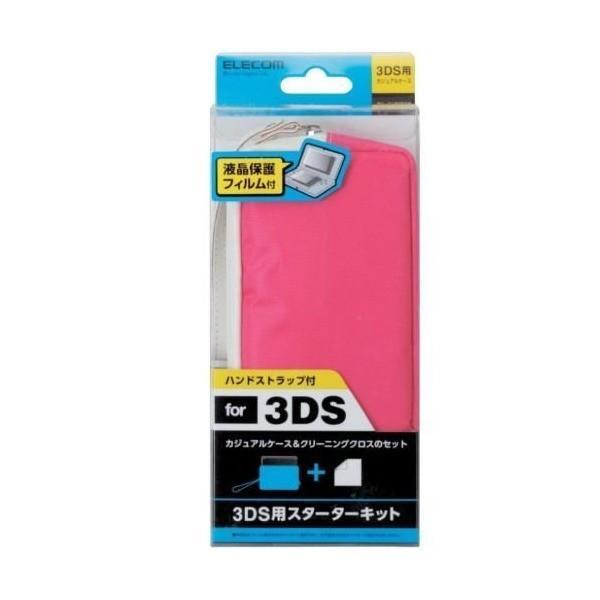 ELECOM 3DS用カジュアルケース クリーニングクロス付 ピンク|pinkdiamondsouhonten