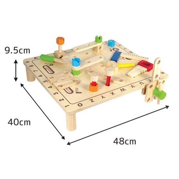 クリスマスセール 知育玩具 ABCカーペンターテーブル エデュテ アイムトイ おもちゃ 木製玩具 木のおもちゃ 人気 誕生日 プレゼント 10倍 一部地域送料無料|pinkybabys|02