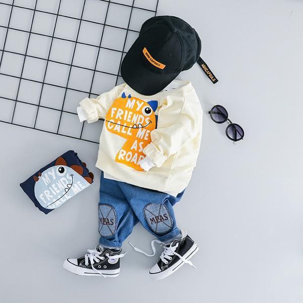子供服 男 ロンT&パンツ 2枚セット 2019年新作 長袖 Tシャツ ジーンズ ダメージデニム セットアップ 男の子向け 80 90 100 1歳ごろ 送料無料 ゆうパケット|pinkybabys|02