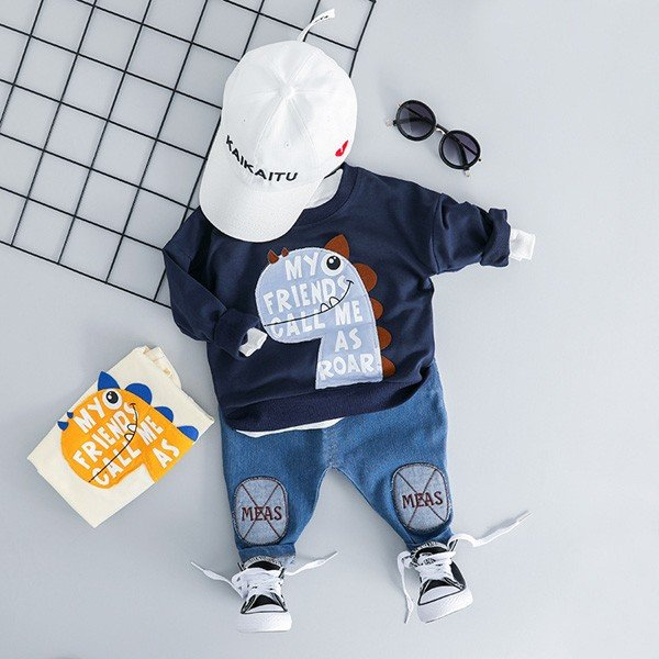子供服 男 ロンT&パンツ 2枚セット 2019年新作 長袖 Tシャツ ジーンズ ダメージデニム セットアップ 男の子向け 80 90 100 1歳ごろ 送料無料 ゆうパケット|pinkybabys|05