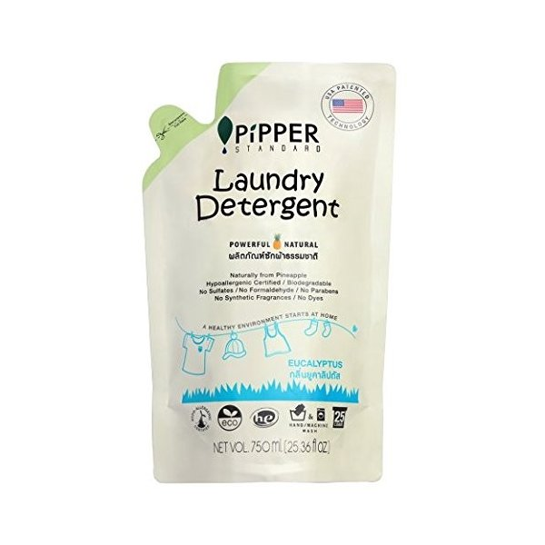 PiPPER STANDARD(ピッパースタンダード) パワフル&ナチュラル 洗濯用洗剤 750ml パウチ 詰替用 (ユーカリプタス)|pipperstandard