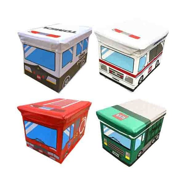 トミカフタ付収納ボックスチェアおもちゃ箱おかたずけボックスBOX