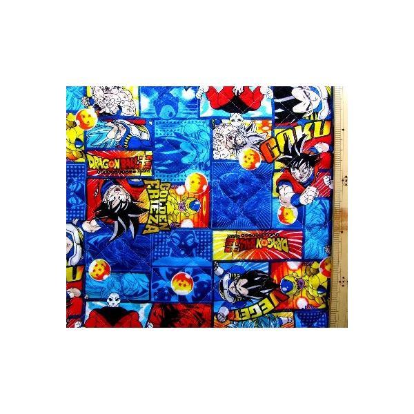 ◇ <Q キャラクター キルティング 生地 > ドラゴンボール超 ( スーパー ) ( 紺 ) 柄番号7 ( 2020 - 2021 ) キルト 生地幅−約106cm 表地−オックス