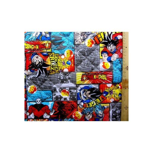 ◇ <Q キャラクター キルティング 生地 > ドラゴンボール超 ( スーパー ) ( グレー ) 柄番号7 ( 2020 - 2021 ) キルト 生地幅−約106cm 表地−オックス