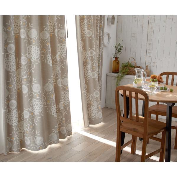 DESIGN LIFE 北欧デザイン遮光カーテン(1枚)HANAKAZARI ハナカザリ(100×135)ウォッシャブル 形状記憶加工 日本製 スミノエ|plaisier