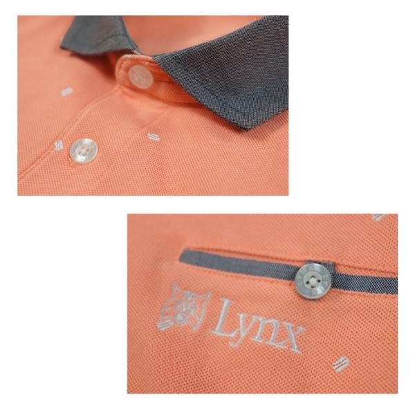 Lynx リンクス ポロシャツ メンズ ゴルフウェア 半袖 ゴルフウエア ハーフジップ ゴルフ スポーツウェア カジュアルウェア 宅 送料無料 lx143804|planet-c|02